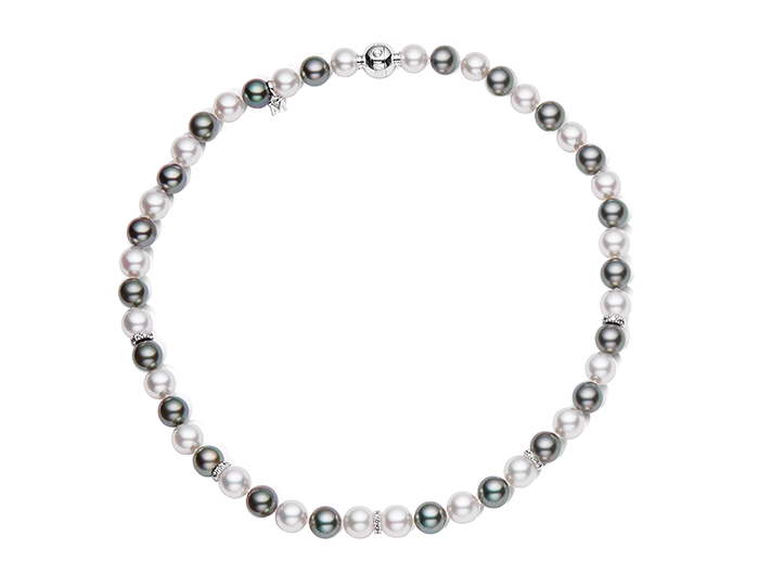 "Mikimoto 8.9x8mm black and white South Sea pearl 16"" necklace with round brilliant cut diamond rondelles and an 18k white gold clasp."