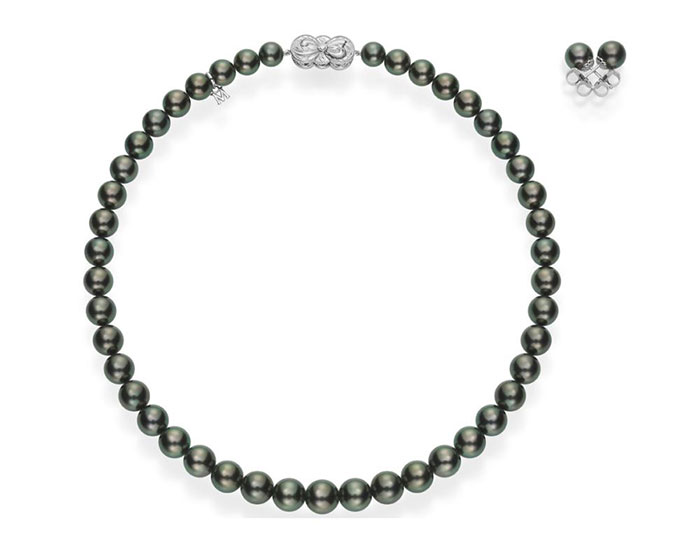 Mikimoto black South Sea necklace and earring set in 18k white gold.