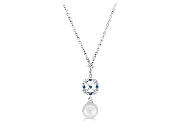 Mikimoto sapphire, diamond and akoya pearl pendant in 18k white gold.