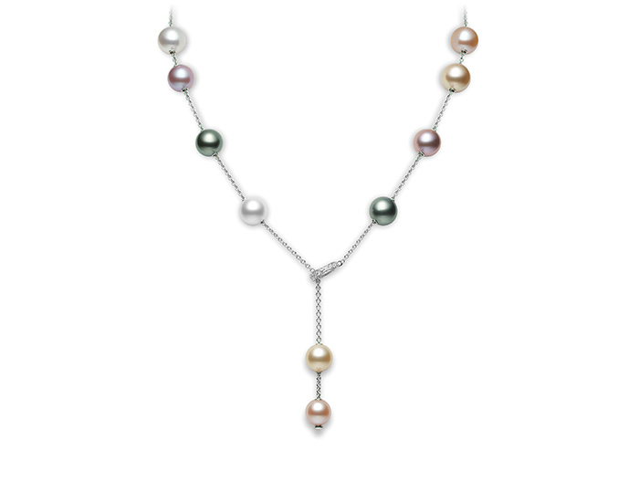 Mikimoto Pearls in Motion Collection black and grey Tahitian pearl, akoya pearl and round brilliant cut diamond necklace in 18k white gold.