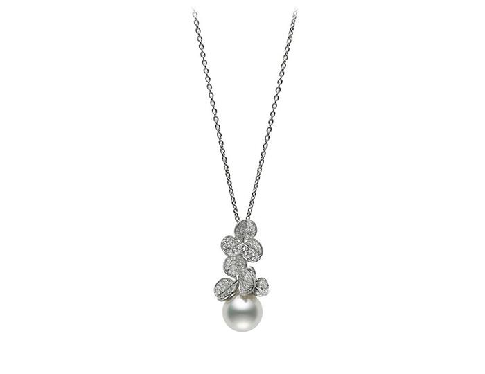 Mikimoto Fortune Leaves Collection pearl and round brilliant cut diamond pendant in 18k white gold.