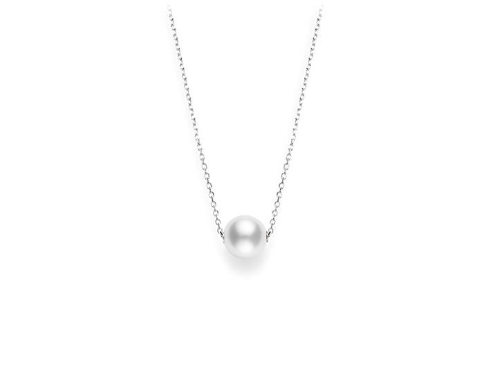 Mikimoto 10mm white South Sea pearl necklace in 18k white gold.