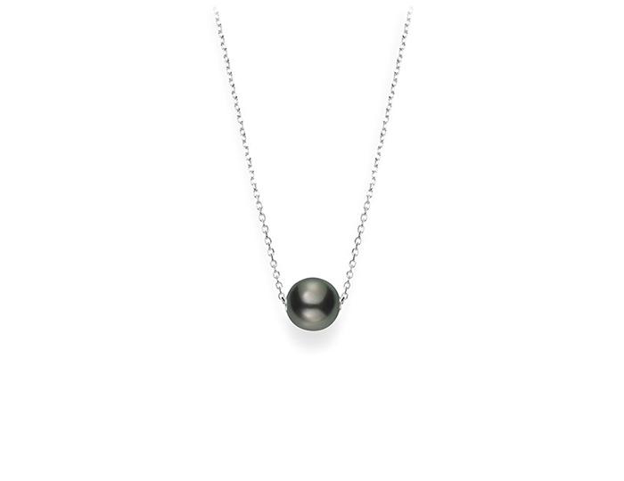 Mikimoto Japan Collection 10mm black South Sea pearl necklace in 18k white gold.