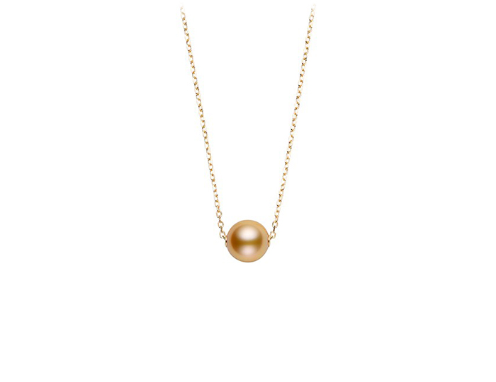 Mikimoto 10mm golden South Sea pearl necklace in 18k yellow gold.