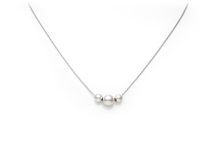 Mikimoto Japan collection 3 akoya pearl pendant in 18k white gold.