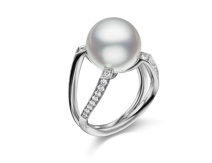 Mikimoto Japan collection 12mm South Seath pearl and round brilliant cut diamond ring in 18k white gold.