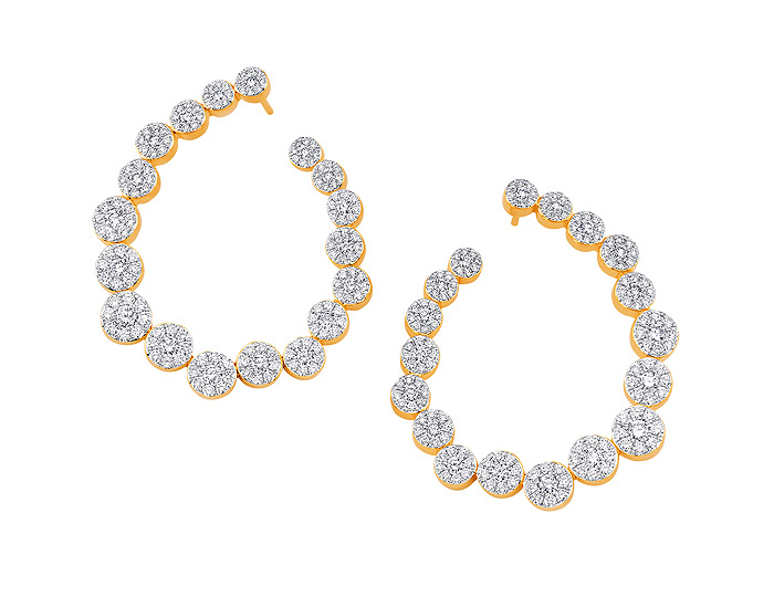 Sara Weinstock Muna collection round brilliant cut diamond earrings in 18k yellow gold.