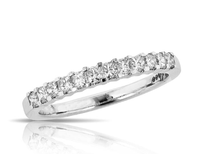 Princess cut diamond band in 18k white gold.