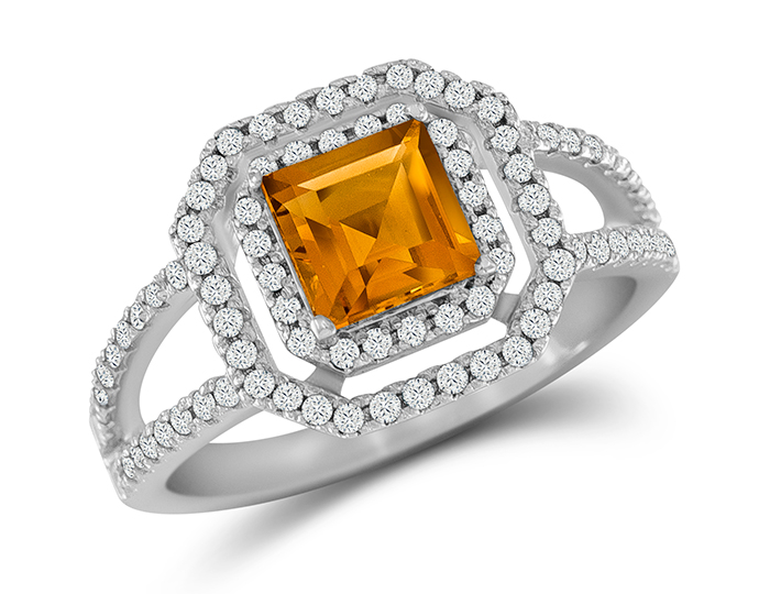 Citrine and round brilliant cut diamond ring in 18k white gold.
