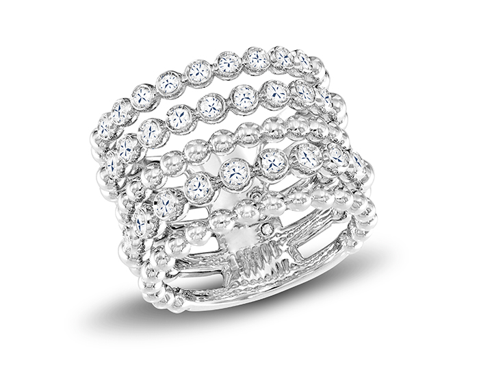 Casato Boutique Collection round brilliant cut diamond ring in 18k white gold.
