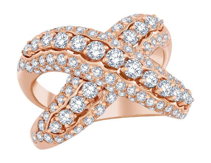 Casato round brilliant cut diamond ring in 18k rose gold.