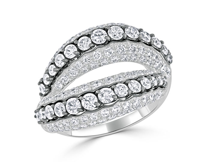 Casato Hold Me Tight collection round brilliant cut diamond ring in 18k white gold with black rhodium.