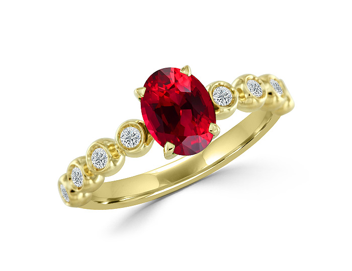 Casato oval shape ruby and round brilliant cut diamond ring in 18k yellow gold.