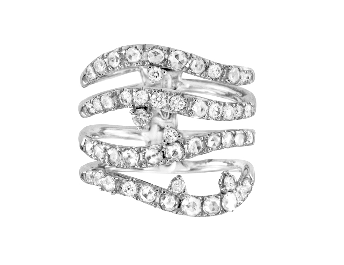 Casato Bel Bel Collection round brilliant cut diamond ring in 18k white gold.