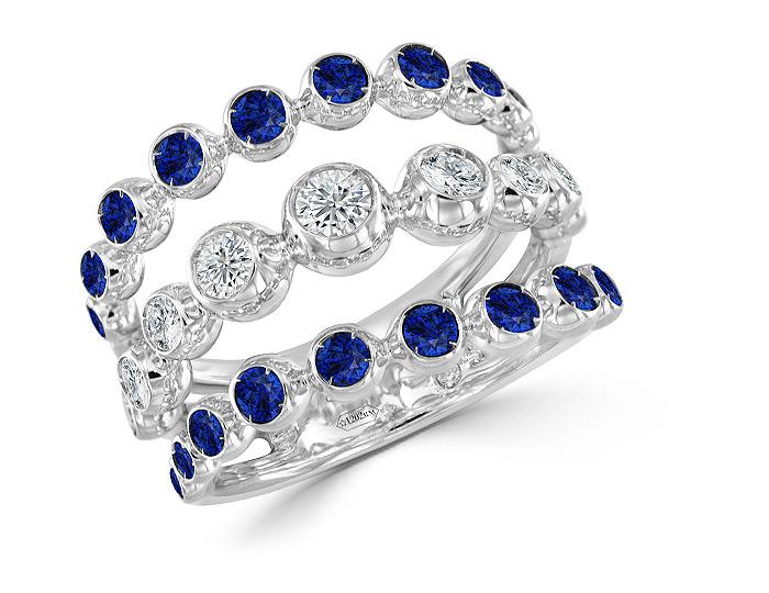 Casato sapphire and round brilliant cut diamond ring in 18k white gold.