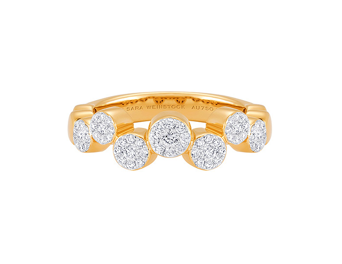 Sara Weinstock Muna collection round brilliant cut diamond cluster ring in 18k yellow gold.