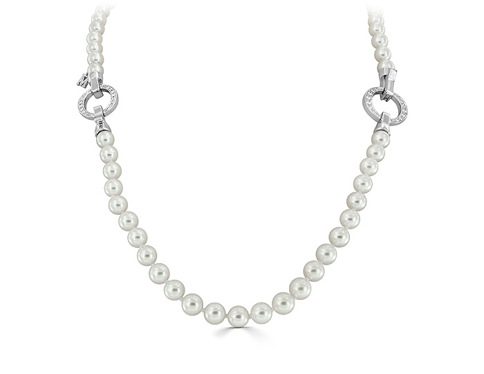 "Mikimoto Japan collection 6.0-5.5mm akoya pearl necklace and detachable bracelet with round brilliant cut diamond clasps in 18k white gold. 7"",16.5"",22.5"""