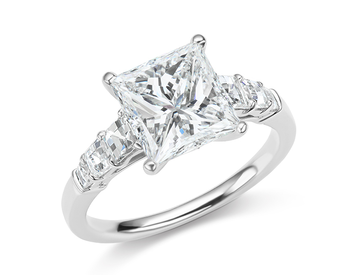 Princess cut and blaze cut diamond engagement ring in platinum.