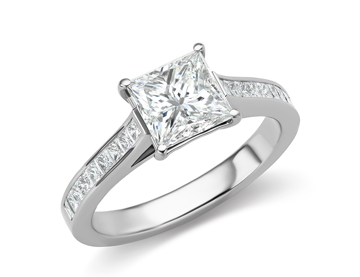 Princess cut diamond engagement ring in 18k white gold.