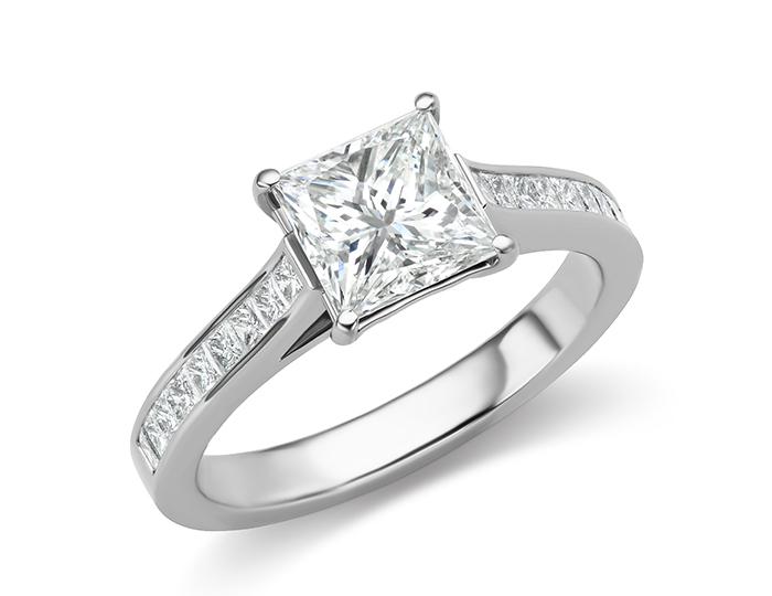 Princess cut diamond engagement ring in 18k white gold.