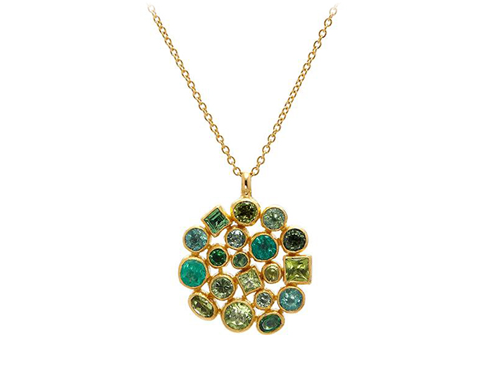 Gurhan Pointelle Collection emerald, green tourmaline and peridot necklace in 24k yellow gold.