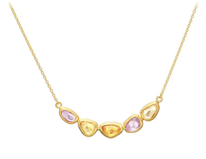 Gurhan Pointelle Collection fancy sapphire necklace in 24k yellow gold.