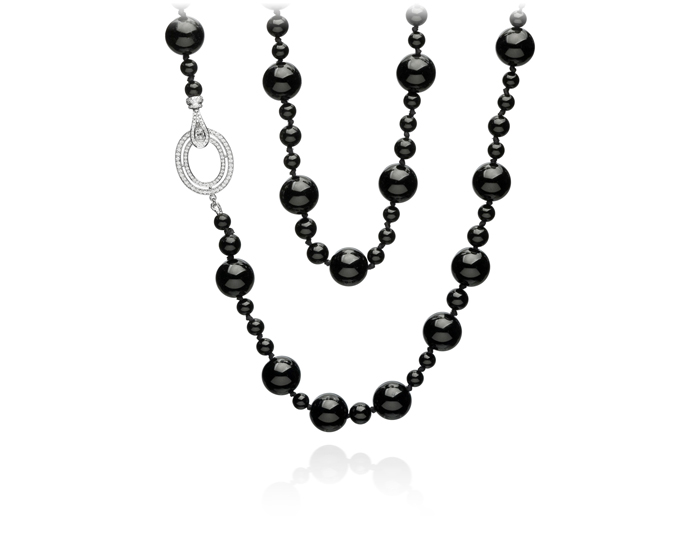 Ivanka Trump Signature Collection black onyx and round brilliant cut diamond necklace in 18k white gold.