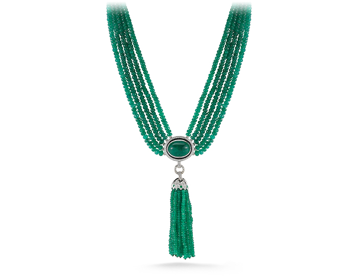 Tassle Collection emerald and diamond necklace in 18k white gold.
