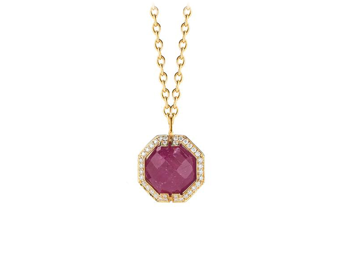 Ivanka Trump Patras Collection African ruby and diamond pendant in 18k yellow gold.