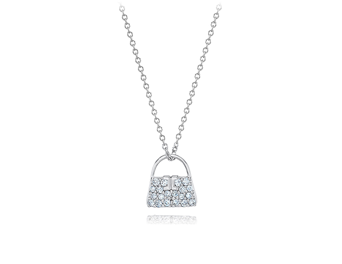 Les Petites Collection round brilliant cut diamond pendant in 18k white gold.