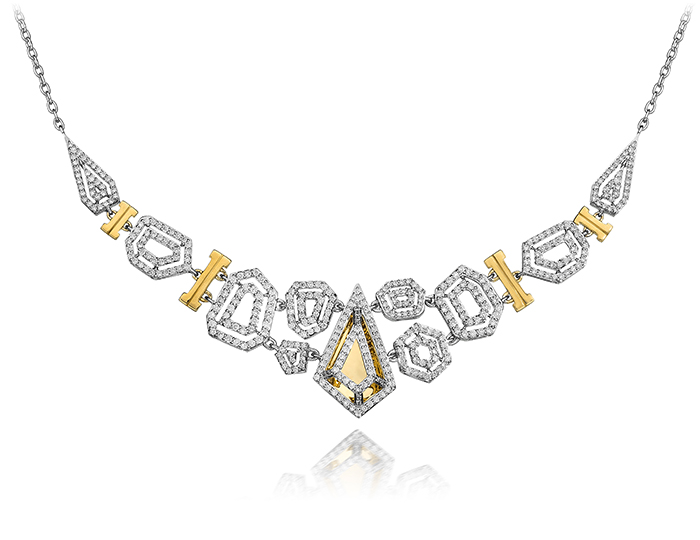 Montmartre Collection round brilliant cut diamond necklace in 18k white and yellow gold.