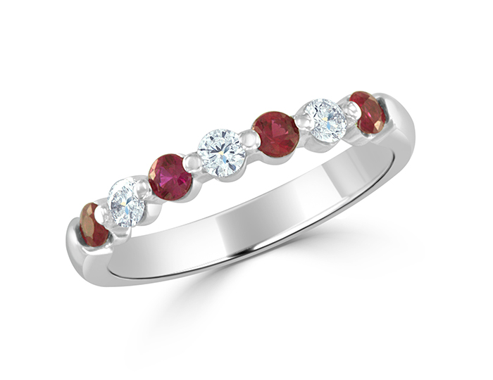 Ruby and round brilliant cut diamond band in 18k whtie gold.