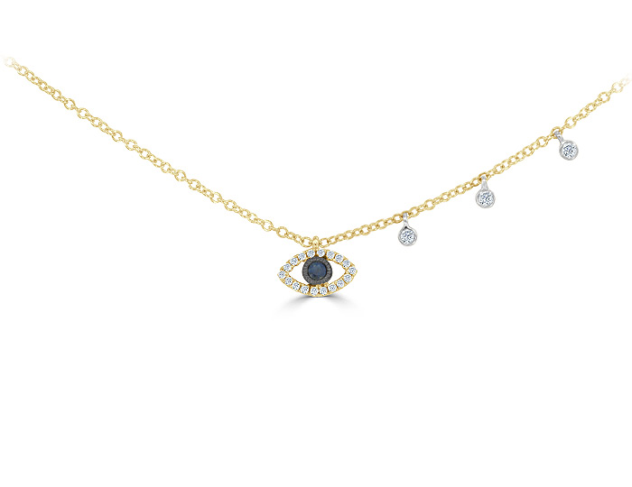 Meira T sapphire and single cut diamond necklace in 18k yellow gold.