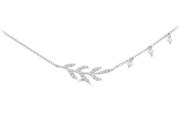 Meira T diamond and pearl necklace in 18k white gold.