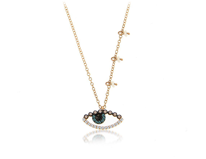 Meira T round brilliant cut diamond and pearl necklace in 18k yellow gold.
