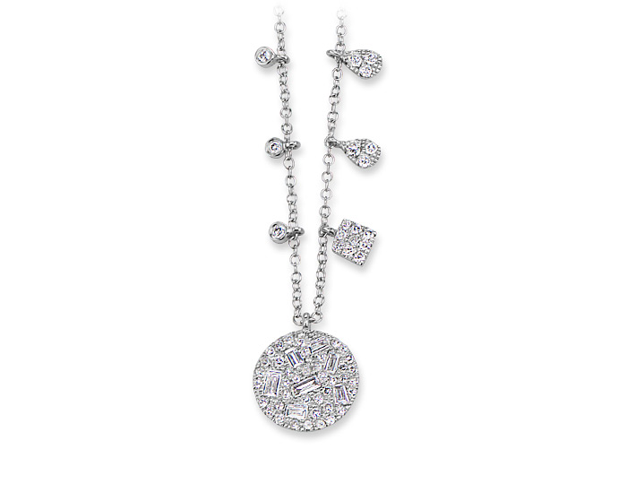 Meira T baguette cut and round brilliant cut diamond necklace in 18k white gold.