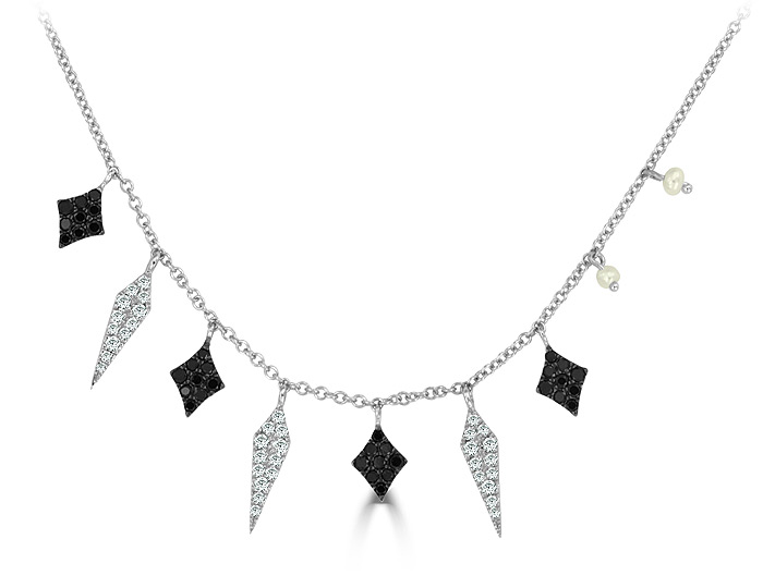 Meira T diamond, black diamond and pearl necklace in 18k white gold.