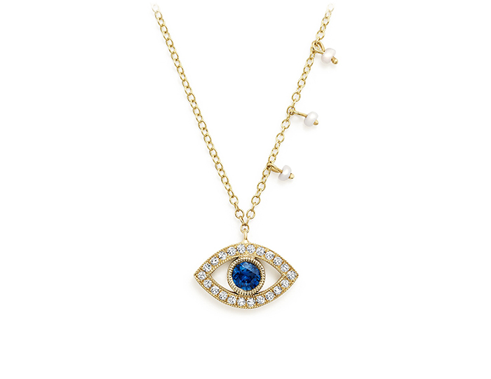 Meira T sapphire, pearl and round brilliant cut diamond necklace in 18k yellow gold.