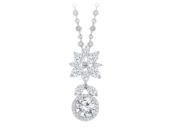 Round brilliant cut, marquise cut and pear shape diamond pendant in platinum.
