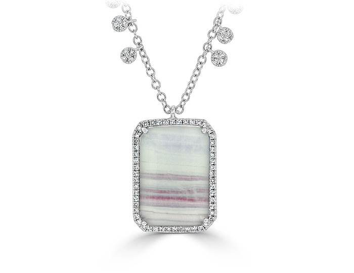 Meira T bi-color fluorite and diamond necklace in 18k white gold.