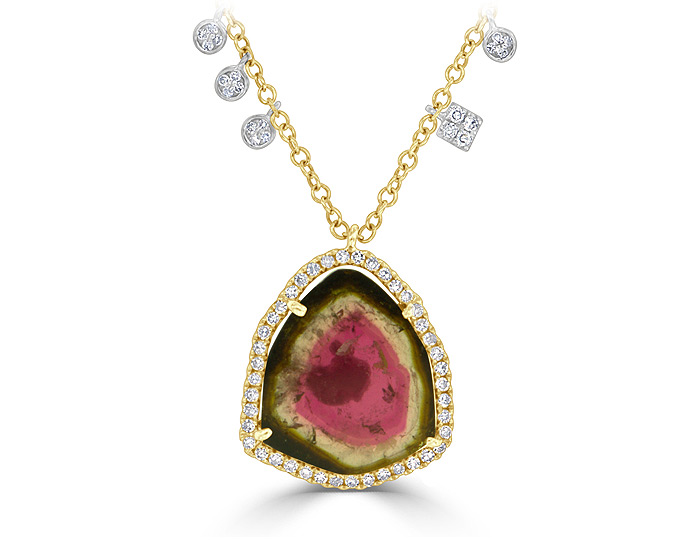 Meira T watermelon tourmaline and round brilliant cut diamond necklace in 18k yellow gold.