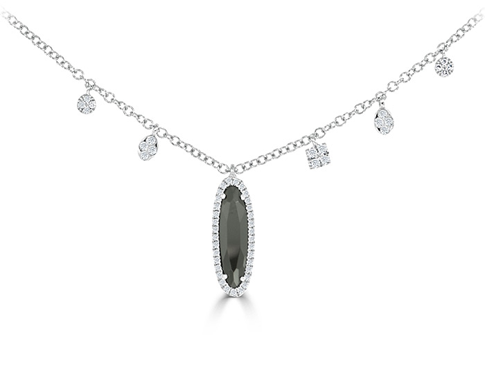Meira T hematite and diamond necklace in 18k white gold.
