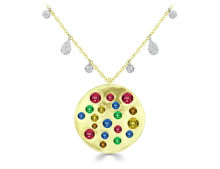 Meira T rainbow gemstone and diamond necklace in 18k yellow gold.