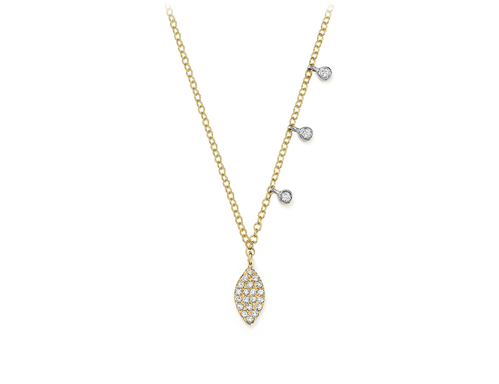 Meira T round brilliant cut diamond necklace in 18k yellow gold.