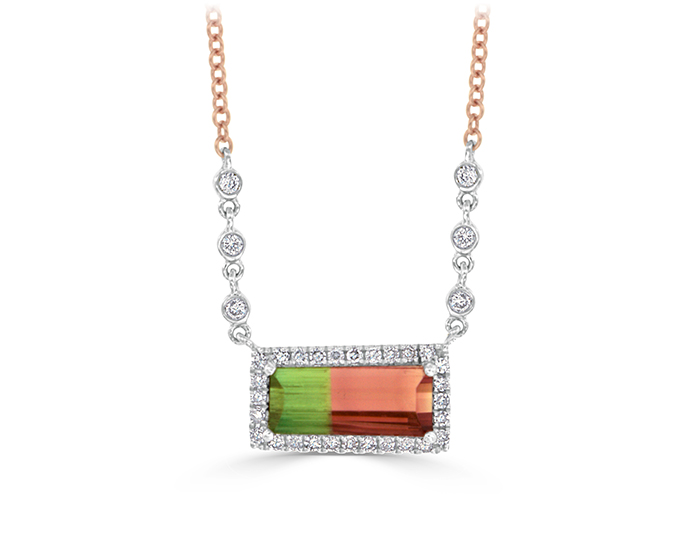 Meira T Tourmaline, single and round brilliant cut diamond necklace in 18k rose gold.