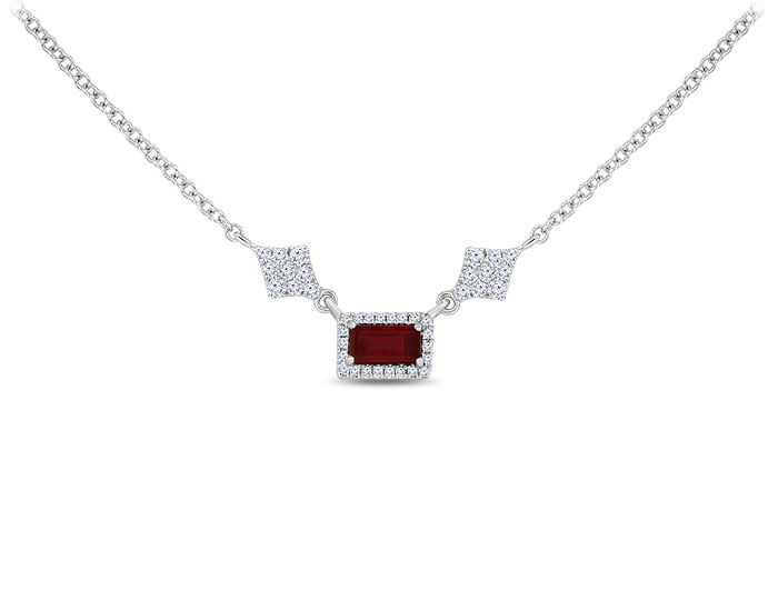 Meira T emerald cut ruby and round brilliant cut diamond necklace in 18k white gold.