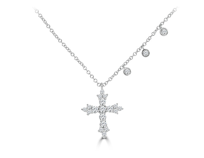 Meira T round brilliant cut diamond cross necklace in 18k white gold.