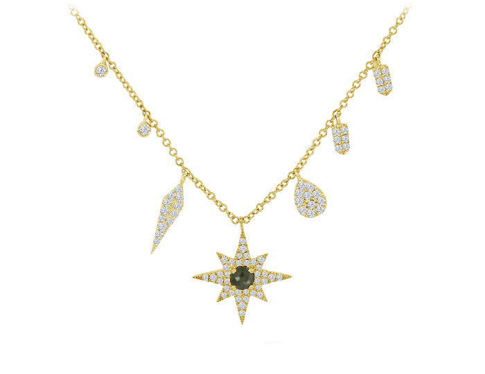 Meira T diamond starburst necklace in 18k yellow gold.