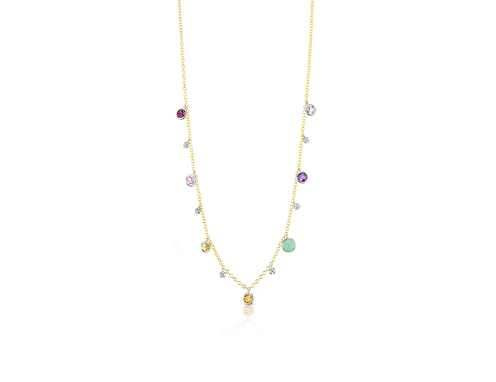 Meira T multi color and diamond necklace in 18k yellow gold.