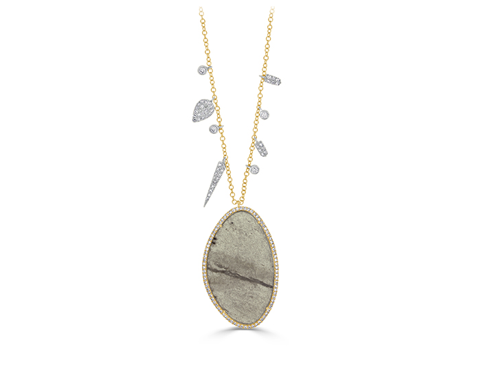 Meira T Labradorite and round brilliant cut diamond necklace in 18k yellow gold.
